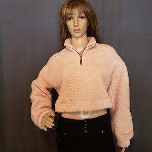 2/$12 Blush Pink Fuzzy Crop Top Size Medium